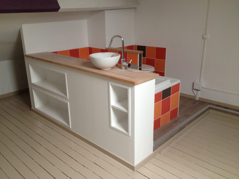 Salle de bain ouverte sur chambre parentale m tres agenceurs - Chambre ouverte sur salle de bain ...